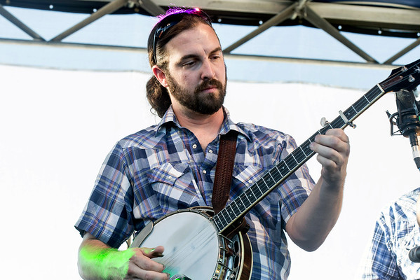 Aaron Bibelhauser of Relic shows of his banjo skills during a performance at the Kentucky Bluegrass & Bourbon Experience. 9/3/16
