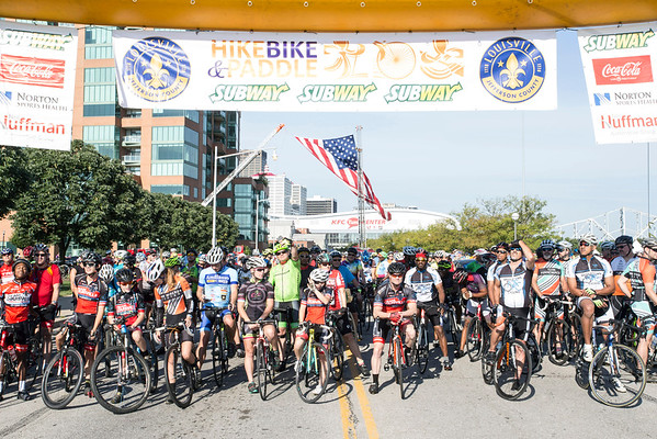 Hundreds of bikers line up along Witherspoon Street for the start of the Labor Day edition of the Mayor's Hike, Bike, and Paddle event. 9/5/16
