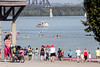 Hikers enjoy the view of paddlers on the Ohio River during the Mayor's Hike, Bike and Paddle Monday morning. 9/5/16