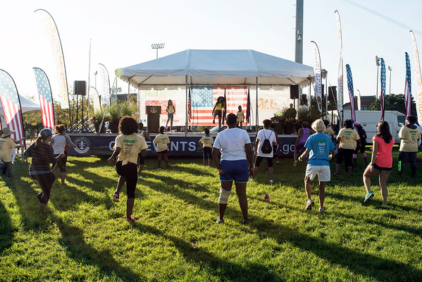 Early arrivals to the Mayor's Hike, Bike and Paddle were treated to zumba workouts at Waterfront Park. 9/5/16