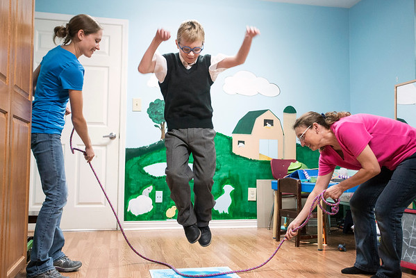 Jump rope is part of the routine for 10-year-old Noah Renner during his visits to Green Hill Therapy in eastern Jefferson County. 9/8/16
