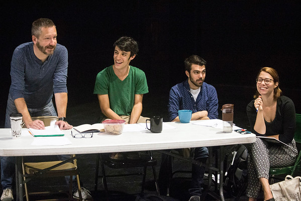 (Left to right) Director Michael Legg is joined by Actors Theatre Professional Training Company members Bryan Howard, Sammy Zeisel, and Paige Vehlwald during a Sunday morning rehearsal in the Victor Jory Theatre. 9/11/16