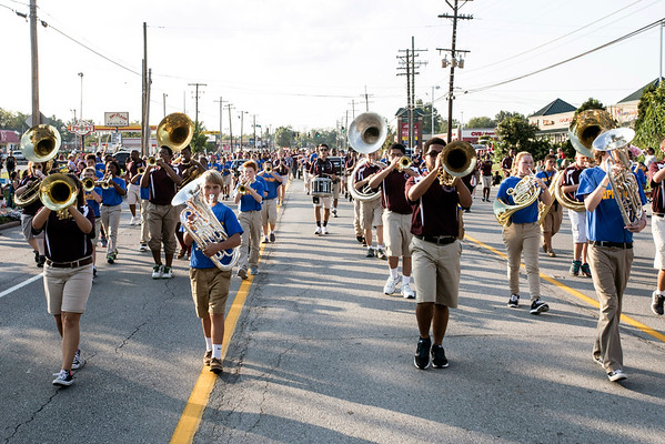 The Carrithers Middle School marching band makes its way up Taylorsville Road along the Gaslight Festival Parade route. 9/15/16