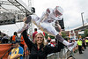 Allison Cook shows off her leaping Lamar Jackson cutout while hanging out backstage during the taping of ESPN's College GameDay on Saturday at Papa John's Stadium. 9/17/16