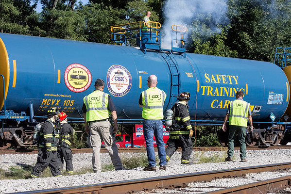 Various first responders in Southern Indiana took part in a training exercise on Tuesday morning involving a mock-hazardous material spill at a CSX rail yard. 9/20/16