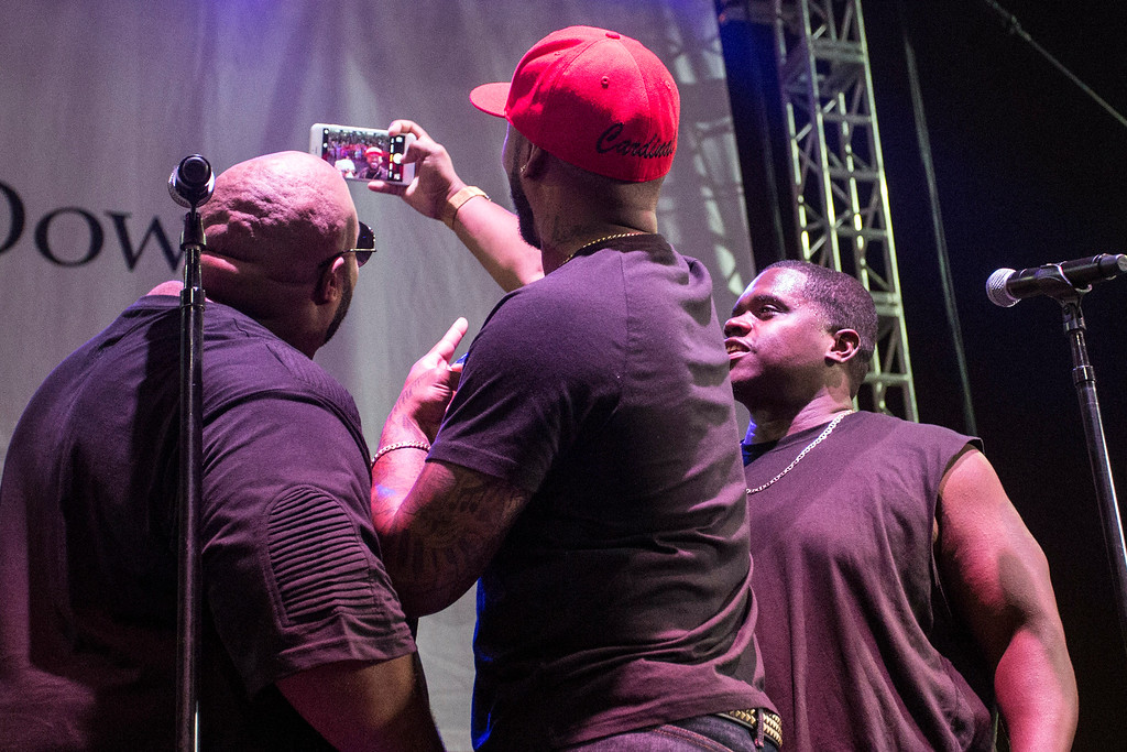 Members of Linkin' Bridge take a selfie with the crowd assembled to see them perform at Churchill Downs on Saturday night. 9/24/16