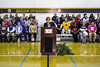 JCPS superintendent Donna Hargens--surrounded by principals from around Louisville--announced on Thursday morning the positive results of the 2016 Unbridled Learning Accountability Model. 9/29/16