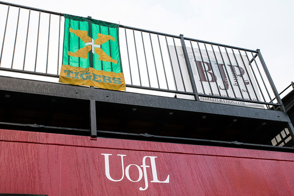 A St. X banner is hung on a caboose at Papa John's Stadium before the rivalry matchup with Trinity on Friday night. 9/30/16