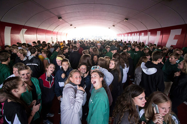 Hundreds of fans gather in the tunnel under Central Avenue before the historic football match-up between Trinity and St. X at Papa John's Stadium on Friday night. 9/30/16