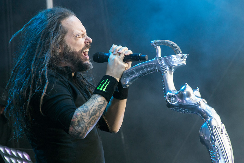 Korn frontman Jonathan Davis lets loose during Louder Than Life on Sunday. 10/2/16