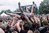 The crowd surfing continued on day two of the Louder Than Life Festival. 10/2/16