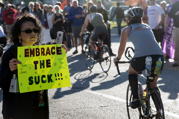 Signs of encouragment were held along the start of the 112-mile bike course of the Ironman competition. 10/9/16