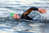 American Michael Hill was the first to complete the 2.4 mile swim in the Ohio River on Sunday morning as the 2016 Ironman returned to Waterfront Park. 10/9/16