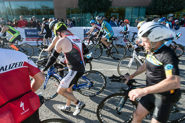 Ironman bikers prepare for a two loop, 112-mile course starting on Witherspoon Street and heading to Oldham and Henry Counties and back. 10/9/16