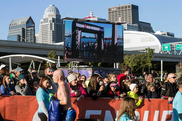 Fans lined the swim-to-bike transition area during Ironman 2016 on Sunday. 10/9/16