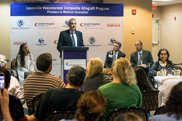 Kleinert Kutz Hand Care Center lead surgeon Dr. Tuna Ozyurekoglu describes the process of Louella Aker's double hand transplant during a press conference in the Frazier Rehab lobby on Wednesday morning. 10/19/16