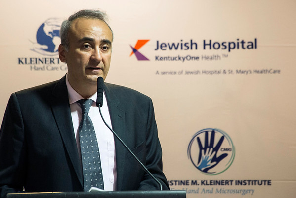 Dr. Tuna Ozyurekoglu, a lead surgeon at Kleinert Kutz Hand Care Center described a recent double hand transplant operation during a press conference on Wednesday morning. 10/19/16