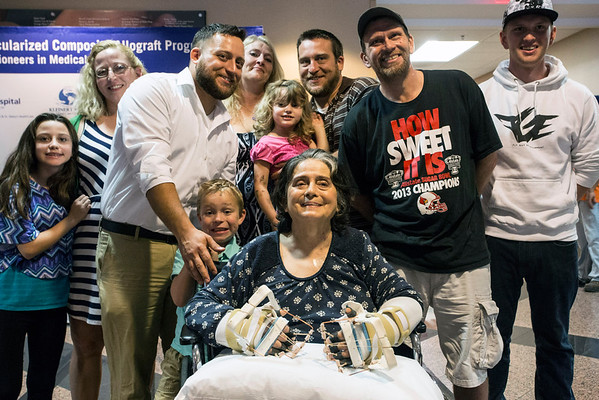 Louella Aker of Jeffersonville, IN is surrounded by family after a press conference decribing her recent double hand transplant surgery. 10/19/16
