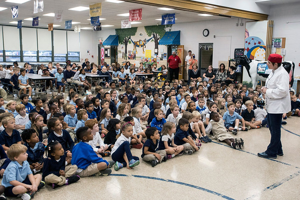 Students at St. Matthew's Elementary were treated to a Farm to School presentation on Thursday morning with lessons on how food is grown and processed. 10/20/16