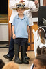 St. Matthew's Elementary student Clay Coleman participates in a lesson on the many skills required of a modern day farmer during a Farm to School presentation on Thursday. 10/20/16