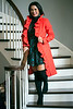 Stephanie Miller-Slone wears a red ruffle jacket by Milly and a dress by Mara Hoffman with over the knee boots from Von Maur. 10/21/16