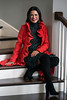 Stephanie Miller Slone is ready for the season with a red ruffle jacket by Milly. 10/21/16