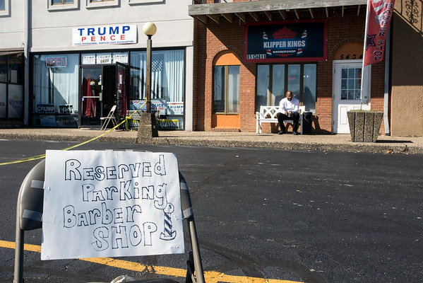 Klipper Kings Barber Shop in Fern Creek claimed a few parking spots for its customers during a Trump rally on Saturday afternoon. 10/22/16