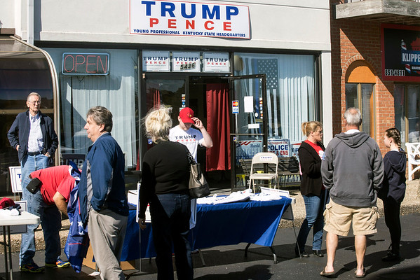 Trump supporters gather outside his Fern Creek headquarters on Saturday for a rally in his support. 10/22/16