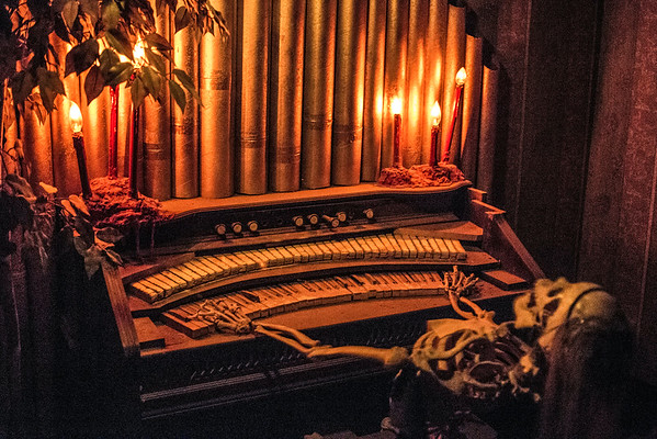 A skeleton gets down on the organ in a deeper corner of the Baxter Avenue Morgue. 10/22/16