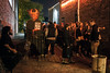 Guests stand in line ready to be frightened on a Saturday night at the Baxter Avenue Morgue. 10/22/16
