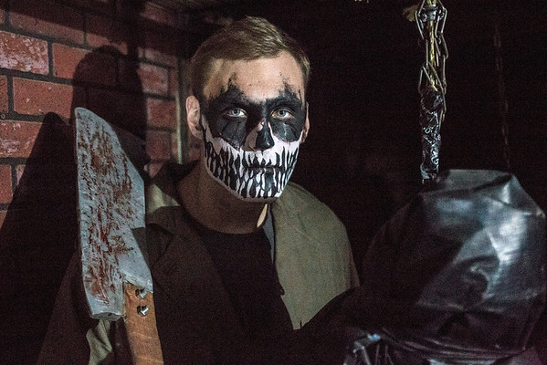Jacob Gerry is the man with the cleaver and the body bags in a terrifying hallway in the Baxter Avenue Morgue. 10/22/16