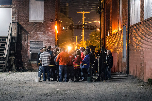 Peak hours at the Baxter Avenue Morgue on a Saturday night creates a wait for guests ready to be scared. 10/22/16