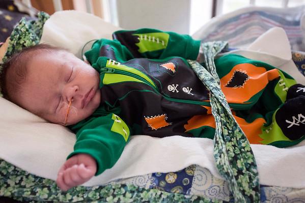 Keegan Kellem sleeps in a Frankenstein costume at Norton Women's & Kosair Children's Hospital on Wednesday morning. 10/26/16