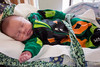 Keegan Kellem sleeps in a Frankenstein costume at Norton Women's & Kosair Children's Hospital on Wednesday morning. 10/26/16