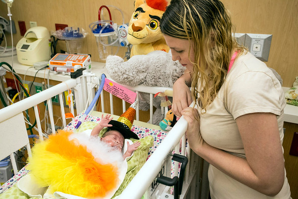Katelyn Muss watches over her baby Riley Torres at Norton Women's & Kosair Children's Hospital. 10/26/16