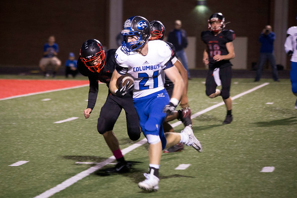 Columbus North senior running back Mitchell Burton runs in the first touchdown of a 52-0 shutout of New Albany on Friday night. 10/28/16
