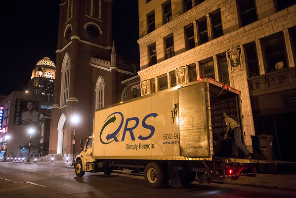The QRS truck makes its way through downtown Louisville on a Thursday night collecting cans left out by restaurants. 10/27/16