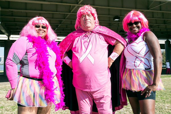 """Linda Kitzmann and Veronica Stanton join the """"Pink Crusader"""" for a quick photo opp during Sunday morning's Making Strides Against Breast Cancer Walk. 10/30/16"""
