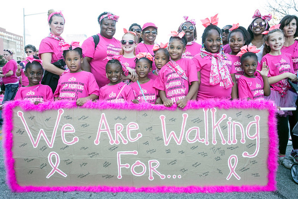 Members of the Louisville Cheer Elite were ready to walk for a cure during the Making Strides Against Breast Cancer Walk. 10/30/16