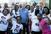 Louisville mayor Greg Fischer is joined by Lexington mayor Jim Gray for a group shot with participants in the Making Strides Against Breast Cancer Walk. 10/30/16