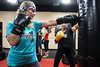 iLoveKickboxing owner Donna French shows technique to Kirby Adams during a Tuesday afternoon workout. 11/01/16