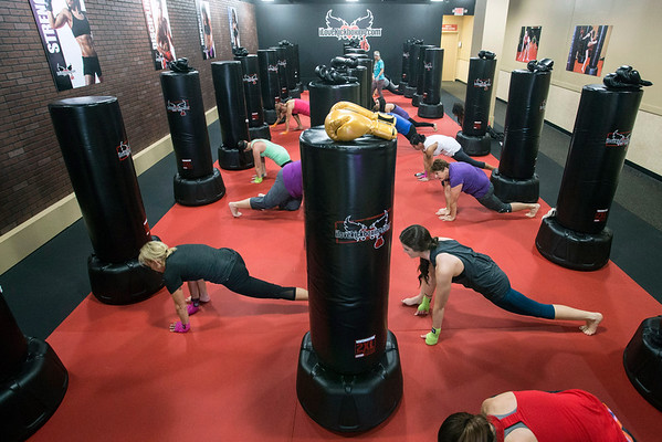 Stretching is done before each workout at iLoveKickboxing on Hurstbourne Lane. 11/01/16