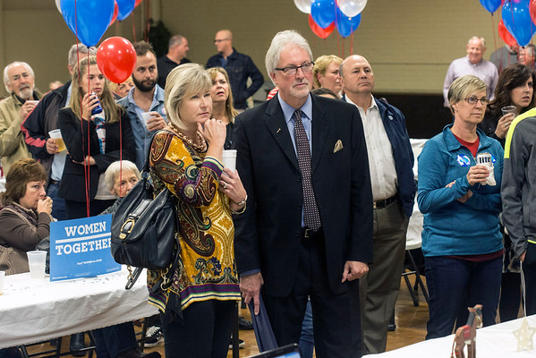 Floyd County Circuit Court Judge J. Terrence Cody was surrounded by supporters as news of his victory was reported at the Knights of Columbus in New Albany. 11/8/16