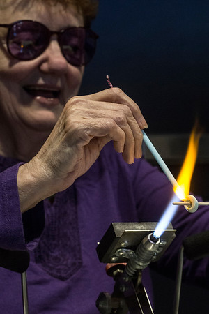 Glass blower Bonnie Blincoe shares her creative process during the 5th Annual Fall Arts Show. 11/13/16