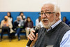 Americana Community Center executive director Edgardo Mansilla encourages the several hundred gathered on Tuesday night to spread out in the center's gym and meet each other with open arms. 11/15/16