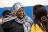 Howidda Abdeldiam chats with Maria Elbl at the Americana Community Center on Tuesday night. 11/15/16