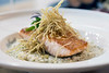 The salmon entree at Brooklyn and the Butcher is served with fried leeks in a fennel white wine cream risotto. 11/17/16