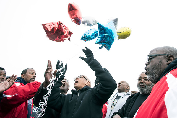Balloons were launched before the start of the Juice Bowl championship game on Saturday in Shawnee Park. 12/3/16