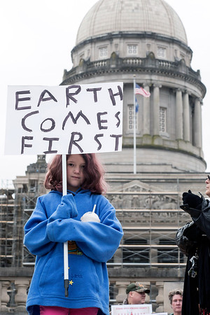 Hailey Parker, a ten-year-old from Frankfort, participated in the Dakota Access Pipeline protest at the Capital Building on Sunday afternoon. 12/4/16