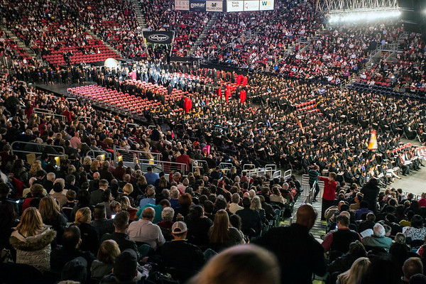 Thousands of family and friends were in attendance at the KFC Yum Center on Thursday night for the UofL winter commencement as around 900 graduates received diplomas. 12/15/16